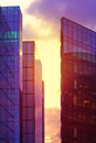 Modern glass buildings in London at purple sunset Stock Image