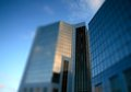 Modern glass office building a tilt and shift photograph of Stock Photography