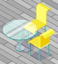 Glass Round Table and Two Yellow Chairs Vector Royalty Free Stock Photo