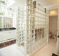 Modern glass and tile bathroom with shower Stock Photography