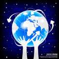 Modern globe connections network design vector Stock Photo