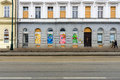 Modern graffiti in the windows of old houses in prague czech republic february is capital and largest city Stock Images