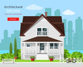 Modern graphic architectural design. Colorful cute house with yard, bench, trees, flowers and city background. Royalty Free Stock Photo