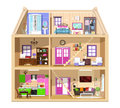 Modern graphic cute house in cut. Detailed colorful vector house interior. Stylish rooms with furniture. House inside. Royalty Free Stock Photo