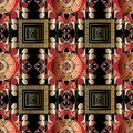 Modern greek seamless pattern. Vector ornamental black red gold Royalty Free Stock Photo