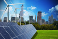 Modern green city powered only by renewable energy sources Royalty Free Stock Photo
