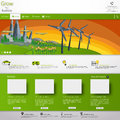 Modern green eco website template for business in editable vector template Stock Photo