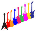 Modern Guitar Silhouettes Royalty Free Stock Photo