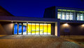 Modern gym building at night Royalty Free Stock Photo