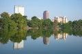 Modern Hanoi. Lake Hoankyem panorama in the sunny day