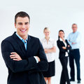 Modern Happy  young business team - copyspace Stock Image
