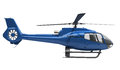 Modern helicopter isolated blue on a white background Stock Photography
