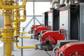 Modern hi-tech gas boiler-house Royalty Free Stock Photo