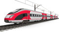 Modern high speed train railway transportation and railroad industry concept red electric streamlined fast on rail track on white Stock Photography