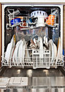 Modern home dishwashing machine appliance showing open Royalty Free Stock Photography