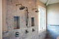 Modern home interior bathroom showers Royalty Free Stock Photo