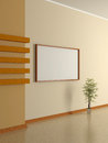 Modern home interior with pot plant and painting d the beige wall Stock Photography