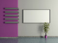 Modern home interior with pot plant and painting d the violet magenta wall Royalty Free Stock Images