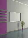 Modern home interior with pot plant and painting d the violet magenta wall Royalty Free Stock Photos