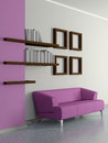 Modern home interior with sofa book shelves d violet magenta near the wall and four paintings Stock Photography