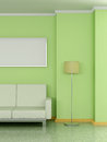 Modern home interior with sofa floor lamp d near the pea green wall and painting Royalty Free Stock Image