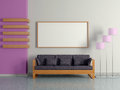 Modern home interior with sofa floor lamp near the violet magenta wall and painting d Royalty Free Stock Photos