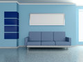 Modern home interior with sofa painting d near the blue wall and Stock Photos