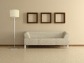 Modern home interior with sofa paintings d near the beige wall and three floor lamp Royalty Free Stock Image
