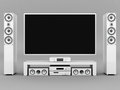 Modern home theater on a gray background Royalty Free Stock Photos