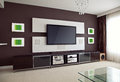 Modern Home Theater Room Interior with Flat Screen TV Royalty Free Stock Photo