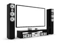 Modern home theater on a white background Stock Photos