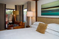 Modern Hotel Resort Bedroom Royalty Free Stock Photo