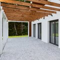 Modern house terrace with cobblestone floor Royalty Free Stock Photo