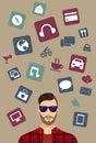 Modern icons, man background