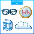 Modern icons set candy cartoon icon hipster glasses carton of milk glazed cookies cloud Royalty Free Stock Photos