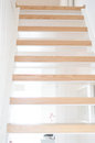 Modern indoor stairs wooden staircase with design Stock Photo