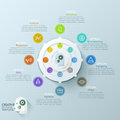 Modern infographics options banner with options circle chart and icons vector can be used for web design workflow layout Stock Photography