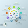 Modern infographics options banner with options circle chart and icons vector can be used for web design workflow layout Stock Photo