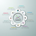 Modern infographics options banner with spiral paper chart and icons vector can be used for web design and workflow layout Royalty Free Stock Photos