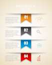 Modern infographics options template with paper sheets, icons for 4 options. Vector.