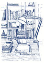 Modern interior home library, bookshelves, hand drawn sketch illustration.