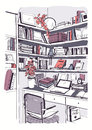 Modern interior home library, bookshelves, workplace hand drawn colorful sketch illustration.