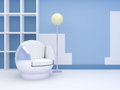 Modern interior with round chair a and a floor lamp standing at the blue wall Royalty Free Stock Photo