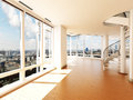 Modern interior with stair s overlooking a city scape Royalty Free Stock Images