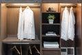Modern interior wardrobe with shirt, pants, hat and towel Royalty Free Stock Photo