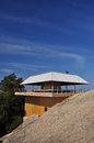 Modern japanese wooden architecture mountain top observatory blue sky miyajima island japan Royalty Free Stock Photos
