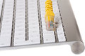Modern keyboard and Network cable Royalty Free Stock Image