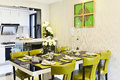 Modern kitchen and dining area Royalty Free Stock Photo