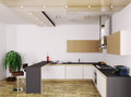Modern kitchen interior d of render Royalty Free Stock Photography