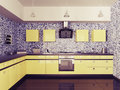 Modern kitchen interior d with sink gas cooktop and hood Royalty Free Stock Image